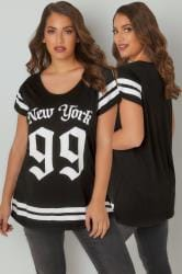 Black & White Varsity Slogan Print T-Shirt