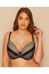 Black & Nude Lace Overlay Underwired Plunge Bra With Moulded Cups