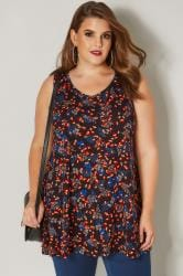Black & Orange Floral Swing Top