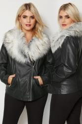 Black PU Leather Look Biker Jacket With Faux Fur Collar