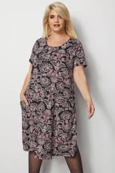 Black Paisley Print Drape Pocket Dress