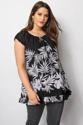 Black Palm Leaf Gypsy Top