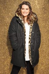 Black Parka Coat With Animal Print Faux Fur
