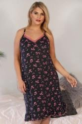 Black & Pink Butterfly Print Frilled Nightdress