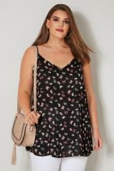 Black & Pink Butterfly Print Woven Cami Top