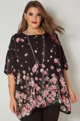 Black & Pink Floral Chiffon Cape Top