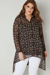 Black & Pink Floral Dipped Hem Shirt