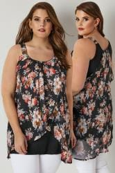 Black & Pink Floral Print Asymmetric Top