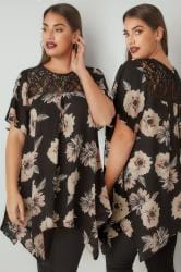 Black & Pink Floral Print Blouse With Lace Yoke