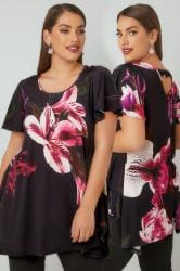 Black & Pink Floral Print Jersey Top With Hanky Hem