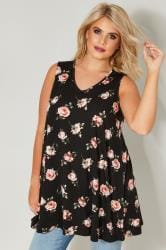 Black & Pink Floral Print Swing Top