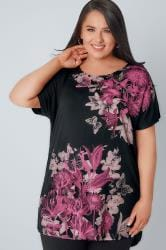 Black & Pink Floral Print Top With Stud Detail