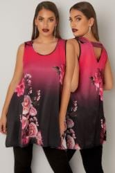 Black & Pink Floral Slinky Stretch Sleeveless Top With Hanky Hem