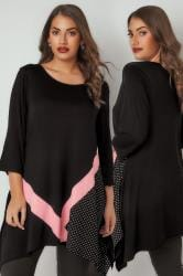 Black & Pink Spot Colour Block Longline Top With Hanky Hem