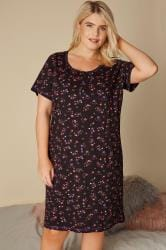 Black & Pink Star Print Nightdress
