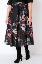 Black, Pink & Teal Floral Print Flared Midi Prom Skirt