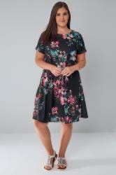 Black, Pink & Teal Floral Print Swing Dress