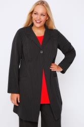 Black Pinstripe Longline Blazer Jacket With Single Button