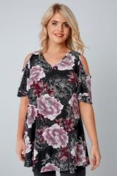 Black & Purple Floral Print Slinky Cold Shoulder Top