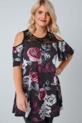 Black, Purple & Multi Floral Print Cold Shoulder Longline Jersey Top With Lace Panel