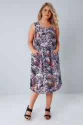 Black & Purple Palm Print Pocket Dress With Elasticated Waistband