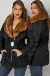 Black Quilted Puffer Jacket With Tan Faux Fur Collar & Elasticated Belt