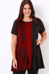 Black & Red Colour Block Longline Swing Top With Animal Print Panel