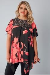 Black & Red Floral Print Blouse With Lace Sequin Yoke