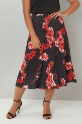 Black & Red Floral Print Midi Jersey Skirt
