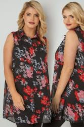 Black & Red Floral Print Sleeveless Chiffon Shirt