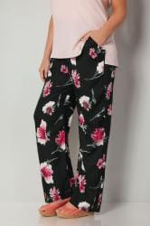 Black & Red Floral Print Straight Leg Trousers With Elasticated Waist