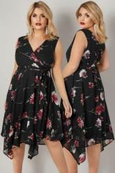 Black & Red Floral Print Wrap Dress With Hanky Hem