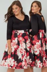 Black & Red Floral V-Neck 2 In 1 Midi Dress With Cut Out Back Detail