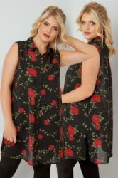 Black & Red Rose Print Sleeveless Shirt