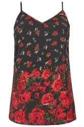 Black Rose Woven Cami Top