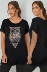 Black Sequin Embellished Owl Print Jersey Top