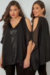 YOURS LONDON Black Sequin V-Neck Blouse With Cold Shoulders
