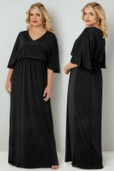 YOURS LONDON Black Sheen Maxi Dress With Kimono Sleeves