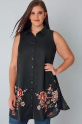 YOURS LONDON Black Sheer Sleeveless Shirt With Floral Print