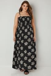 Black Shirred Bandeau Floral Maxi Dress With Detachable Straps