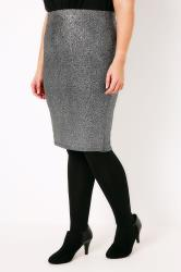Black & Silver Foil Pull On Skirt
