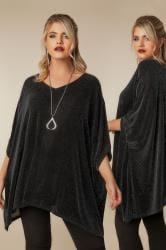 Black & Silver Sparkle Cape Top