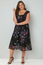 YOURS LONDON Black Sleeveless Layered Mesh Dress With Floral Print