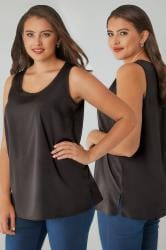 Black Sleeveless Top With Side Splits