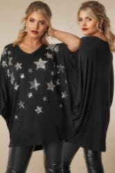 YOURS LONDON Black Star Sequin Embellished Oversized Jersey Top With Batwing Sleeves