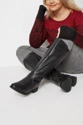 Black Stretch Knee High Rider Boots In EEE Fit