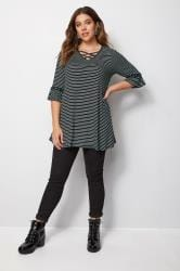 Black Stripe Lattice Front Top With Eyelet Flute Sleeves