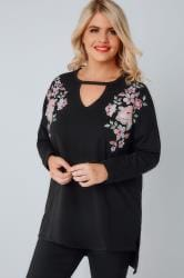 Black Sweat Top With Mirror Floral Embroidery