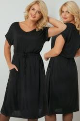 Black T-Shirt Dress With Pockets & Elasticated Waistband