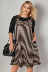 Black & Taupe Striped Tunic Dress With Pockets